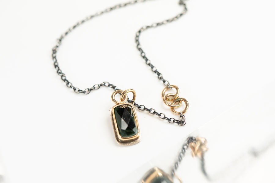 Indicolite Tourmaline and Gold Necklace