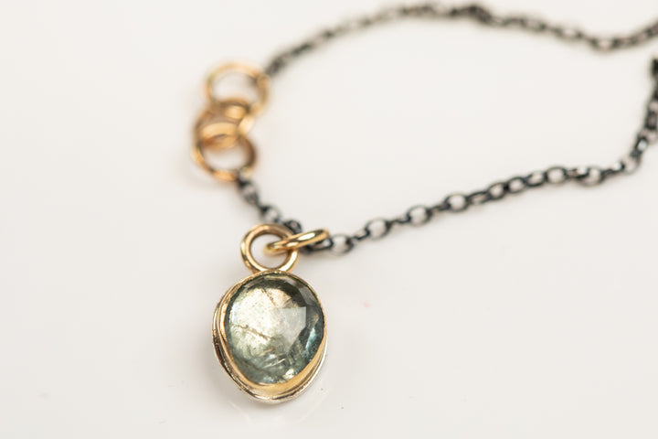 Moss Aquamarine with Gold and Sterling Silver Necklace