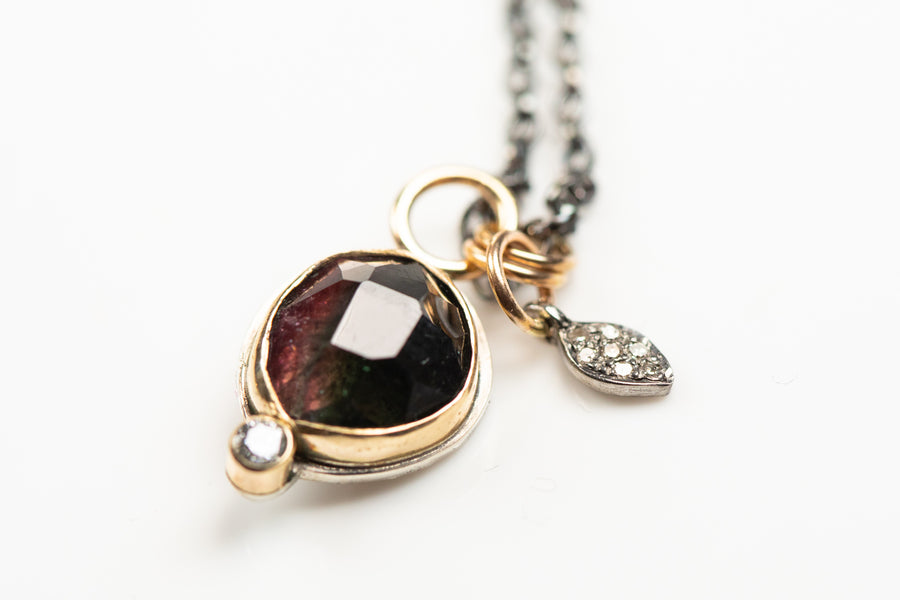 Maroon Tourmaline and Diamond Necklace