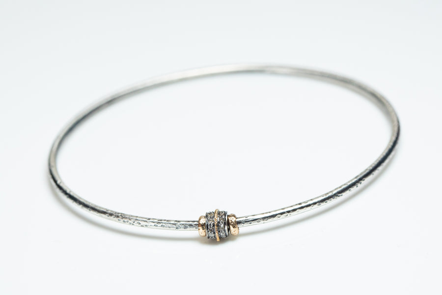 Sterling and Gold Pavé Diamond Bangle