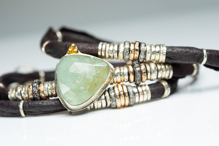Aquamarine Diamond and Gold Espresso Brown Leather Wrap