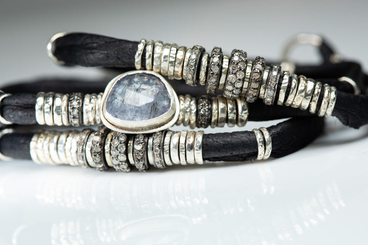 Tanzanite and Pavé Diamond Ink Black Leather Wrap