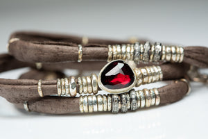 Rhodolite Garnet and Pavé Diamonds Chocolate Brown Leather Wrap