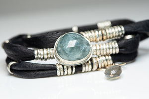 Blue Tourmaline Espresso Brown Leather Wrap
