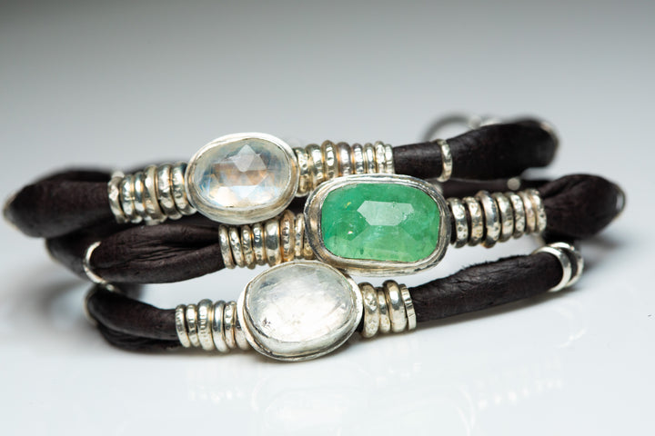 Bright Green Tourmaline and Moonstones Espresso Brown Leather Wrap