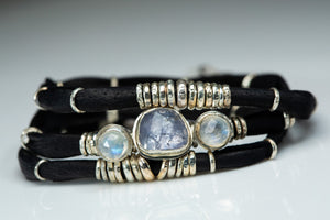 Tanzanite and Moonstone Ink Black Leather Wrap