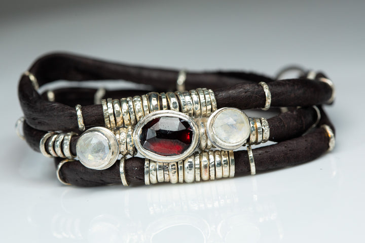 Rhodolite Garnet and Moonstones Espresso Brown Leather Wrap