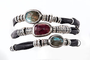 Ruby and Labradorite Ink Black Leather Wrap