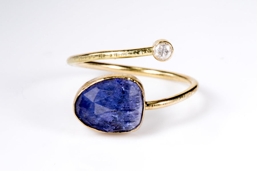Tanzanite Diamond and Gold Open Wrap Ring