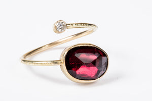 Rhodolite Garnet Gold and Diamond Open Wrap Ring