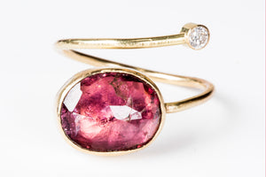 Tourmaline Diamond Gold Open Wrap Ring