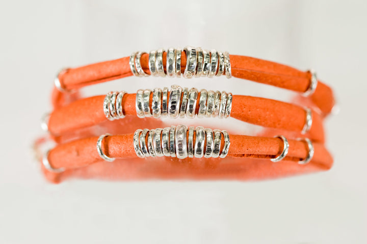 Clementine Orange Leather Wrap