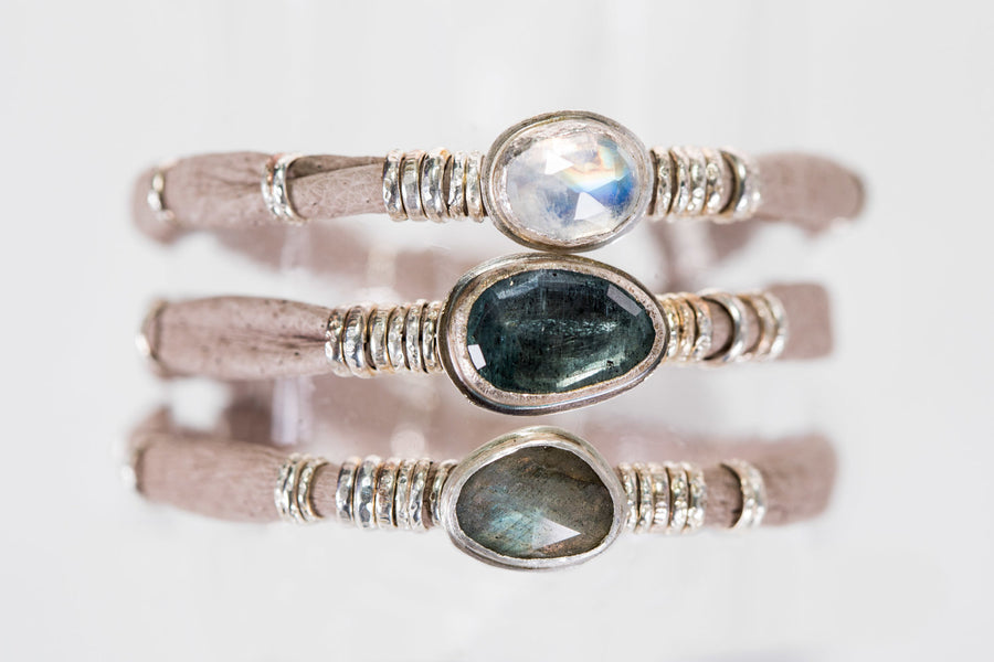 Moss Aquamarine and Moonstones and Labradorite Dark Taupe Leather Wrap