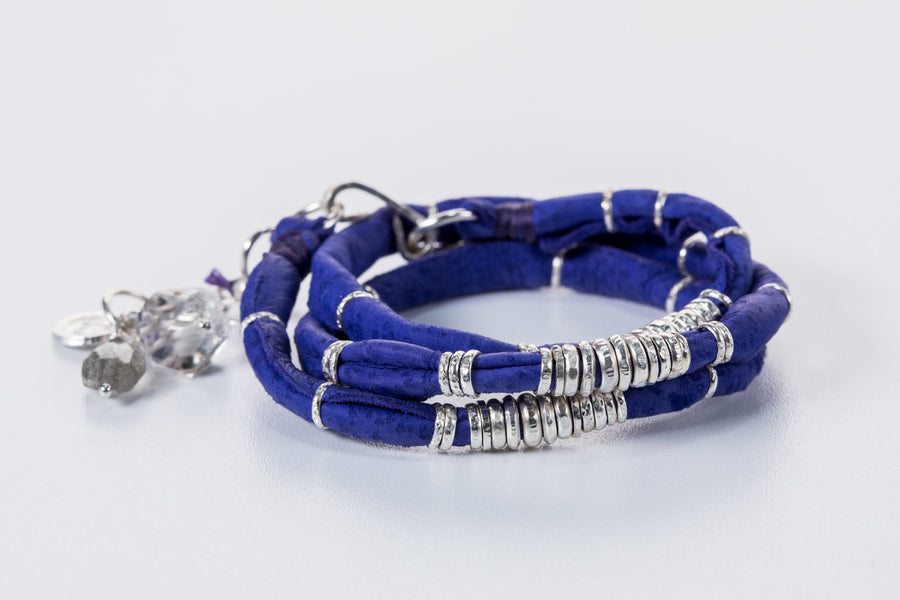 Bright Blue Leather Wrap