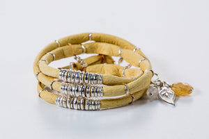 Lemon Yellow Leather Wrap