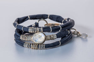 Moonstone Navy Blue Leather Wrap
