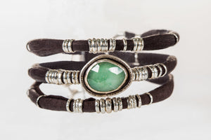 Chrysoprase Chocolate Leather Wrap