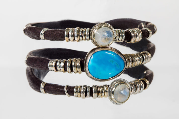 Turquoise and Moonstones Espresso Brown Leather Wrap