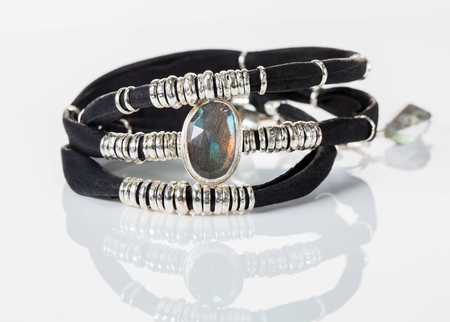 Labradorite Ink Black Leather Wrap