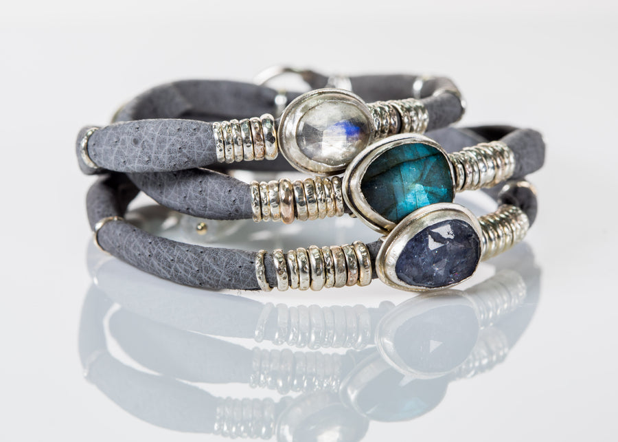 Labradorite With Iolite and Moonstone Grey Leather Wrap