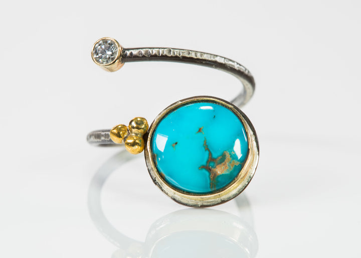 Candelaria Turquoise & Diamond Open Wrap Ring
