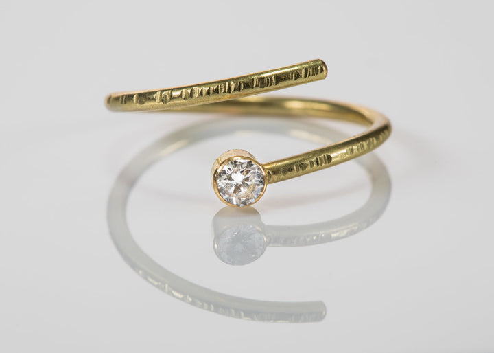18k Gold and Diamond Open Wrap Ring