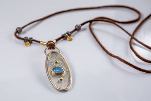 Opal and Pavé Diamond Leather Necklace