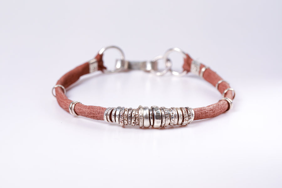 Saddle Brown and Sterling Silver Mens Bracelet