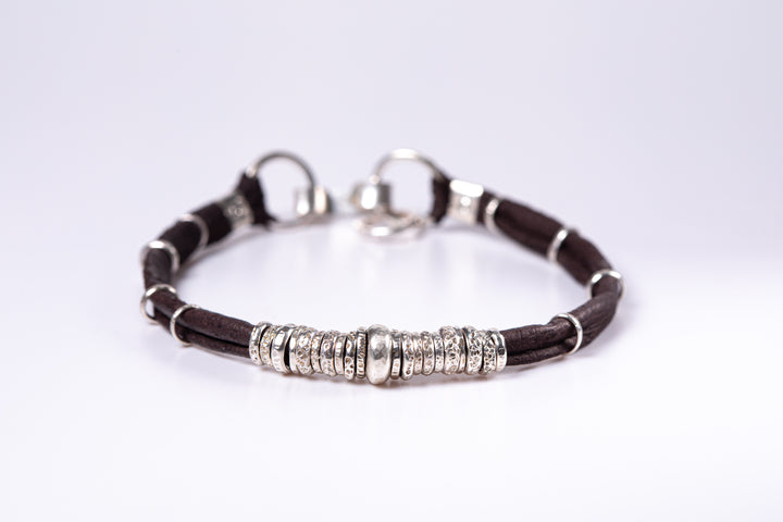 Ink Black and Sterling Silver Mens Leather Bracelet