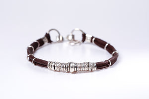 Espresso Brown and Sterling Silver Mens Bracelet