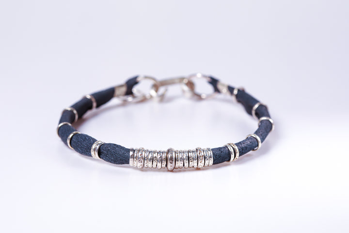 Denim and Sterling Silver Mens Leather Bracelet