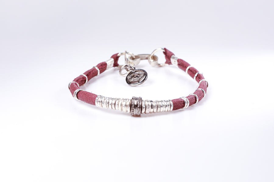Pavé Diamond Barrel and Eggplant Leather Bracelet