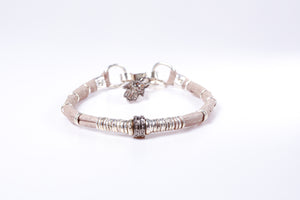 Pavé Diamond Barrel and Light Taupe Leather Bracelet
