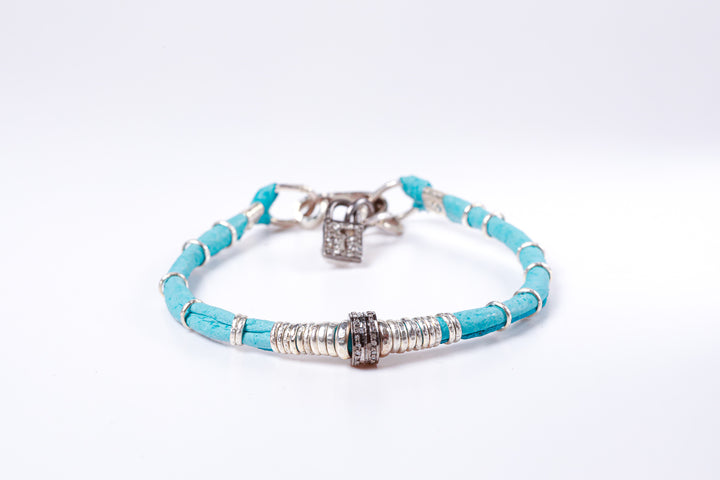 Pavé Diamond Barrel Turquoise Leather Bracelet