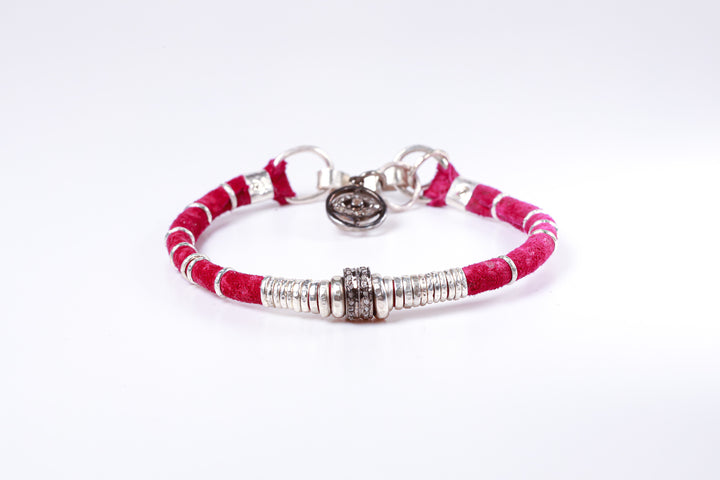 Pavé Diamond Barrel Magenta Leather Bracelet