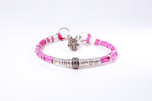 Pavé Diamond Barrel Pink Leather Bracelet