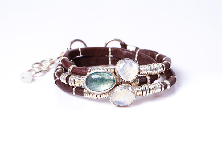 Blue Tourmaline with Moonstones Espresso Brown Leather Wrap