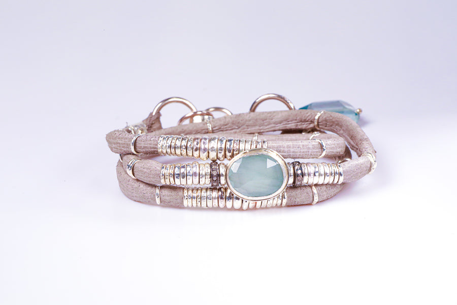 Milky Blue Aquamarine and Diamond Pavé light Grey Leather Wrap Bracelet