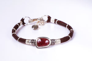 Ruby and Pavé Diamond Leather Bracelet