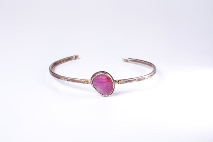 Pink Sapphire Sterling Silver Bangle
