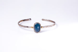 Blue Sapphire Sterling Bangle