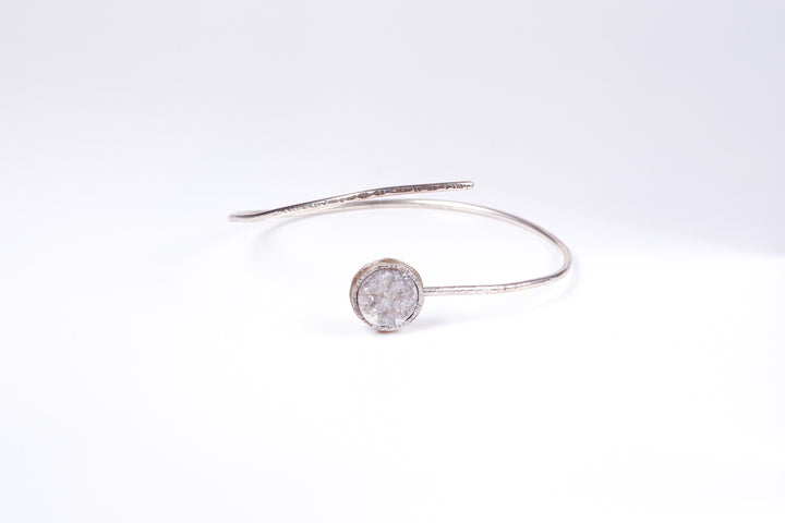 White Druzy Sterling Silver Bangle