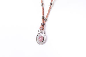 Pink Sapphire and Pavé Diamond Leather Necklace
