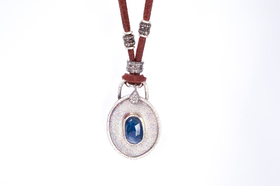 Blue Sapphire and Pavé Diamond Leather Necklace