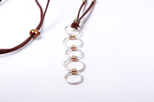 Brushed Sterling Silver and Pavé Diamond Gold and Leather Necklace