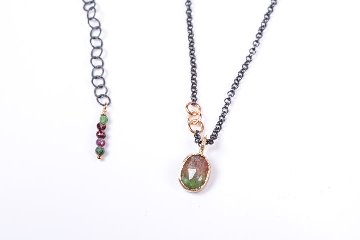 Watermelon Tourmaline with Gold and Sterling Silver Necklace