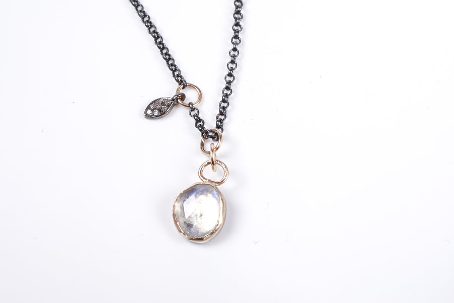 Moonstone with Gold and Sterling Silver Necklace