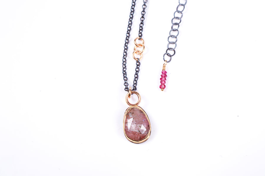 Pink Tourmaline with Gold and Sterling Silver Necklace
