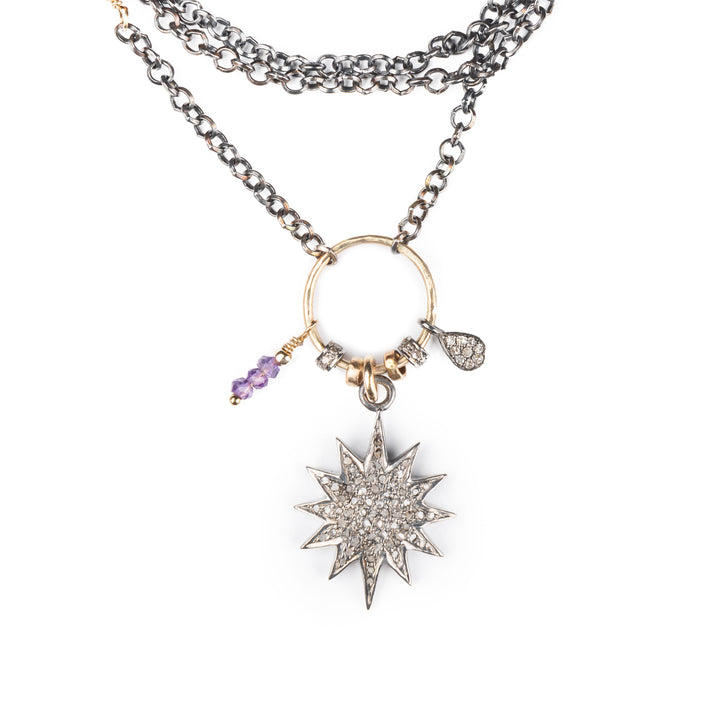 Amethyst and Pavé Diamond Starburst Necklace