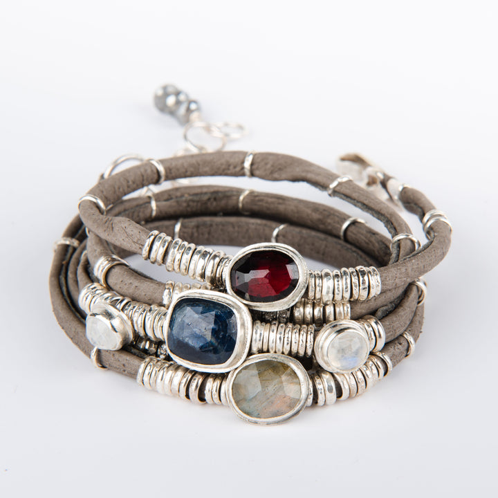 Blue Sapphire, Moonstones, Labradorite, & Rhodolite Garnet Graphite Grey Leather 5 Wrap Bracelet